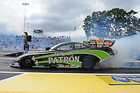 Jun. 1, 2012; Englishtown, NJ, USA: NHRA funny car driver Alexis DeJoria during qualifying for the Supernationals at Raceway Park. Mandatory Credit: Mark J. Rebilas-
