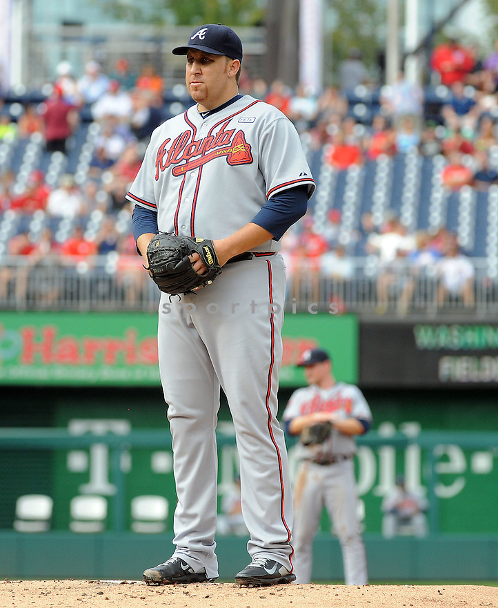 Atlanta Braves Aaron Harang (34) during a game against the Washington Nationals on September 10, 2014 at Nationals Park in Washington DC. The Braves beat the Nationals 6-2.