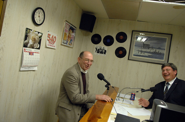 Rep. Wayne Gilchrest, R-MD, left, is interviewed by Mayor Michael McDermott, at WGOP 540 in Pocomoke City, Maryland.
