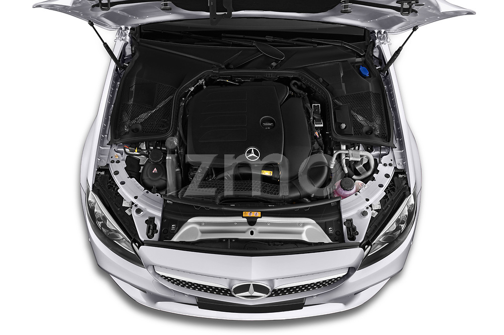 Car stock 2019 Mercedes Benz C Class base 2 Door Coupe engine high angle detail view