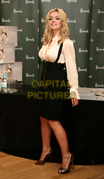 "KATHERINE JENKINS .Opera singer Katherine Jenkins launches her new album ""Sacred Arias"" at a signing in Harrods, Knightsbridge, London, England, October 20th 2008..full length cream satin silk blouse shirt black braces ruffles black high waisted skirt pleated brown shoes heels zip .CAP/DS.©Dudley Smith/Capital Pictures"