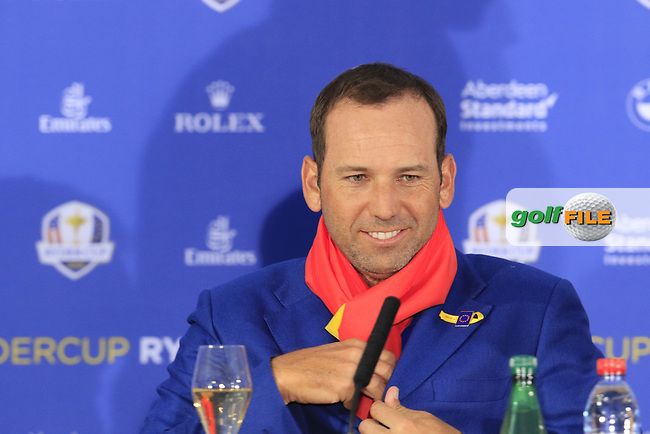 Sergio Garcia (Team Europe) at the press conference after Europe win the Ryder Cup 17.5 to 10.5 at the end of Sunday's Singles Matches at the 2018 Ryder Cup 2018, Le Golf National, Ile-de-France, France. 30/09/2018.<br /> Picture Eoin Clarke / Golffile.ie<br /> <br /> All photo usage must carry mandatory copyright credit (© Golffile   Eoin Clarke)