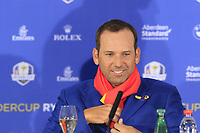 Sergio Garcia (Team Europe) at the press conference after Europe win the Ryder Cup 17.5 to 10.5 at the end of Sunday's Singles Matches at the 2018 Ryder Cup 2018, Le Golf National, Ile-de-France, France. 30/09/2018.<br /> Picture Eoin Clarke / Golffile.ie<br /> <br /> All photo usage must carry mandatory copyright credit (&copy; Golffile | Eoin Clarke)