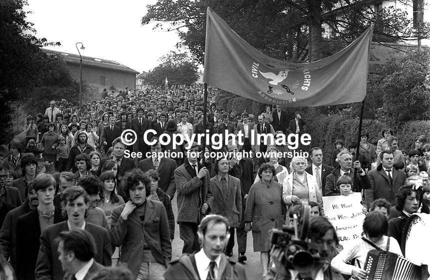 NI Civil Rights Association 4th anniversary march, 8th October 1972, of the original march on 5th October 1968. 196810080613d<br /> <br /> Copyright Image from Victor Patterson, 54 Dorchester Park, Belfast, UK, BT9 6RJ<br /> <br /> t1: +44 28 9066 1296 (from Rep of Ireland 048 9066 1296)<br /> t2: +44 28 9002 2446 (from Rep of Ireland 048 9002 2446)<br /> m: +44 7802 353836<br /> <br /> e1: victorpatterson@me.com<br /> e2: victorpatterson@gmail.com<br /> <br /> The use of my copyright images is subject to my Terms &amp; Conditions.<br /> <br /> It is IMPORTANT that you familiarise yourself with them. They are available on my website at www.victorpatterson.com.<br /> <br /> None of my copyright images may be used on a website unless they are visibly watermarked, i.e. &copy; Victor Patterson within the body of the visible image. Metadata denoting my copyright must NOT be deleted. <br /> <br /> Web use is extra at currently recommended NUJ rates.