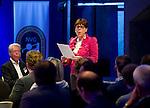 UTRECHT -  Jacqueline Lambrechtse , voorzitter NVG . A tribe called Golf, de kracht van de connectie. Nationaal Golf Congres van de NVG 2014 , Nederlandse Vereniging Golfbranche. COPYRIGHT KOEN SUYK