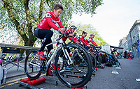 Picture by Allan McKenzie/SWpix.com - 17/05/2018 - Cycling - OVO Energy Tour Series Womens Race - Round 2:Aberdeen - Nicola Juniper warms up with her team.