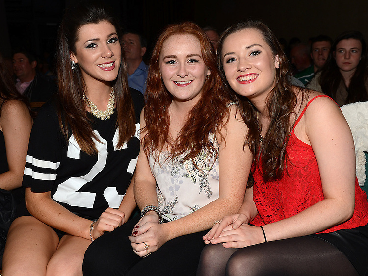 Hannah Casey, Ellen Butterly and Helen Campbell at the White Collar Boxing in City North Hotel. Photo:Colin Bell/pressphotos.ie