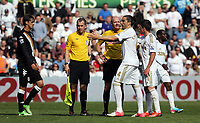 Pictured: Chico Flores and team mate Pablo Hernandez vent their frustration against match referee Lee Mason (C) and his colleague for the later's early finish of the first half. Sunday 19 May 2013<br />