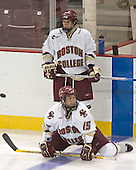 Nathan Gerbe, Stephen Gionta  The Boston College Eagles defeated the Providence College Friars 3-2 in regulation on October 29, 2005 at Kelley Rink in Conte Forum in Chestnut Hill, MA.  It was BC's first Hockey East win of the season and Providence's first HE loss.