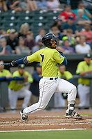 Catcher Ali Sanchez (7) of the Columbia Fireflies bats in a game against the Greenville Drive on Friday, May 25, 2018, at Spirit Communications Park in Columbia, South Carolina. Columbia won, 3-1. (Tom Priddy/Four Seam Images)