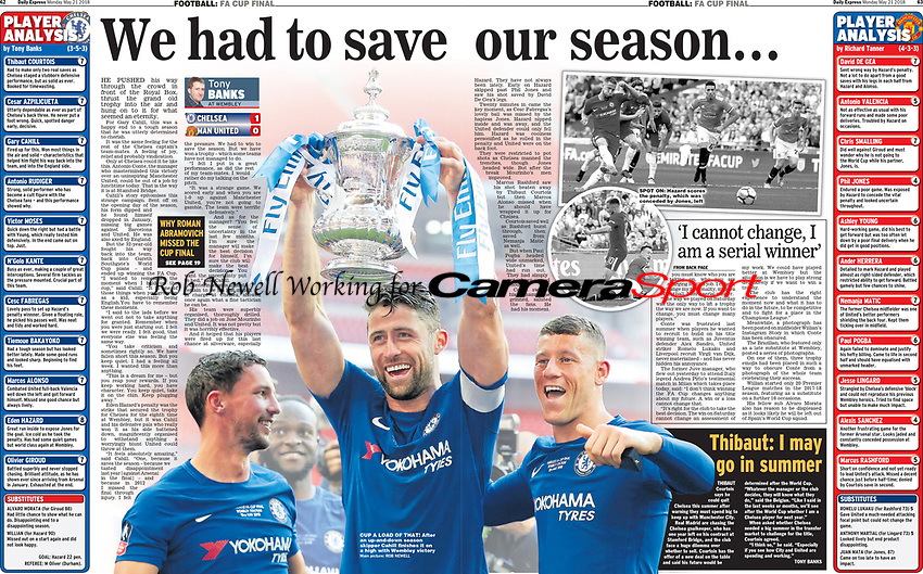 Daily Express 21-May-2018 - Gary Cahill; 'We had to save our season' - Photo by Rob Newell (Camerasport via Getty Images)