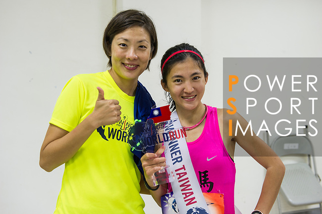 Taiwan Female Champion Yafen Chen (right)  and 2015 Taiwan Female Champion during the Wings for Life World Run on 08 May, 2016 in Yilan, Taiwan. Photo by Lucas Schifres / Power Sport Images