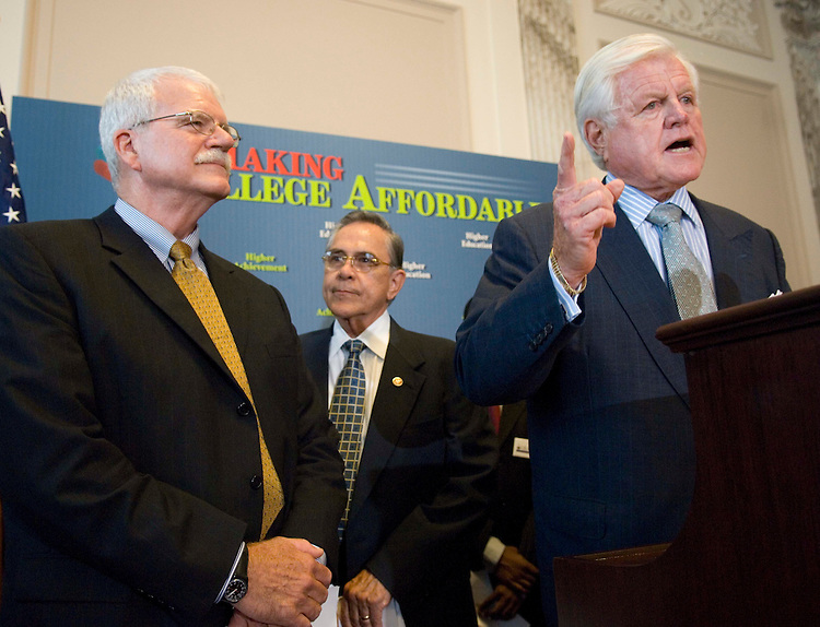 """WASHINGTON, DC - Sept. 06: House Education and Labor Chairman George Miller, D-Calif., Rep. Ruben Hinojosa, D-Texas, and Senate Health, Education, Labor and Pensions Chairman Edward M. Kennedy, D-Mass., during a news conference on the education bill. Miller said Thursday that President Bush will sign legislation that would cut roughly $20 billion from lender subsidies and use the funds to beef up aid to college students and reduce the interest rates they pay on loans. Miller said Education Secretary Margaret Spellings told him of Bush's intent. The administration had threatened to veto the legislation (HR 2669) based on several provisions that remained in the conference agreement reached Wednesday. According to Miller and Senate aides, the Senate is expected to pass the bill Thursday night and the House will clear it Friday. The House Rules Committee scheduled action on the conference report at 3 p.m. Thursday. The agreement on the bill would halve interest rates on subsidized student loans, from 6.8 percent to 3.4 percent, over four years; create several new programs; enact a different """"special allowance payment"""" -- the subsidy the government pays lenders to offer student loans -- for nonprofit lenders; increase funding for Upward Bound; and require the Education secretary to auction the rights to offer federally backed PLUS loans to parents. If Bush signs the measure, most of the changes will take effect Oct. 1. (Photo by Scott J. Ferrell/Congressional Quarterly)."""