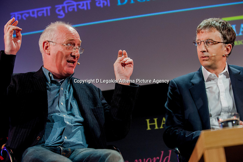 Tuesday 27 May 2014, Hay on Wye, UK<br /> Pictured:  James Mitchel and Richard Wyn Jones<br /> Re: The Hay Festival, Hay on Wye, Powys, Wales UK.