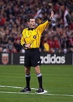 Referee Andres Pfefferkorn makes a call during a MLS game at RFK Stadium in Washington, DC.  D.C. United lost to the Columbus Crew, 3-0.
