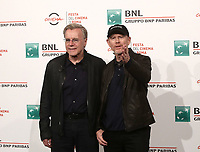 Il regista statunitense Ron Howard (d) posa con il produttore Nigel Sinclair (s) durante il photocall per la presentazione del suo film 'Pavarotti' alla 14^ Festa del Cinema di Roma all'Aufditorium Parco della Musica di Roma, 18 ottobre 2019.<br /> U.S. director Ron Howard (r) poses with the producer  Nigel Sinclair (l) during the photocell to present his movie 'Pavarotti' during the 14^ Rome Film Fest at Rome's Auditorium, on 18 october 2019.<br /> UPDATE IMAGES PRESS/Isabella Bonotto