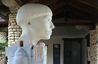 Homenaje a los Tainos, or Hommage to the Tainos, a monumental sculptural head by contemporary Canadian artist Mark Lineweaver, 2016, in the Museo Arqueologico Regional Altos de Chavon, in Altos de Chavon, a recreated European village built 1976-82 in La Romana, Dominican Republic, in the Caribbean. The museum was opened in 1981 and is part of the Altos de Chavon Cultural Center Foundation, housing a collection of indigenous objects donated by Samuel Pion. Picture by Manuel Cohen