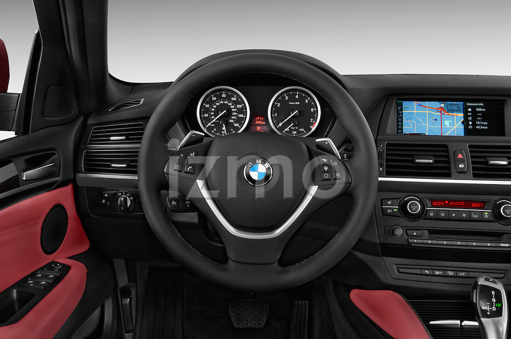 Steering wheel view of a 2013 BMW X6 X Drive 35i