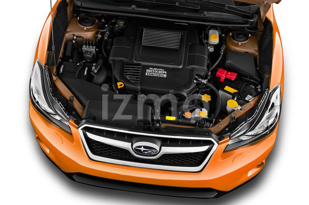 Car Stock 2015 Subaru XV-Crosstrek Premium 5 Door SUV Engine  high angle detail view