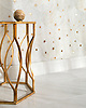 Astronomy, a waterjet stone mosaic, shown in honed Cloud Nine and Brass, is part of the Trove® collection for New Ravenna.