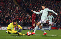 Bayern Munich's Robert Lewandowski is caught off-side  under pressure from Liverpool's Alisson Becker <br /> <br /> Photographer Rich Linley/CameraSport<br /> <br /> UEFA Champions League Round of 16 First Leg - Liverpool and Bayern Munich - Tuesday 19th February 2019 - Anfield - Liverpool<br />  <br /> World Copyright © 2018 CameraSport. All rights reserved. 43 Linden Ave. Countesthorpe. Leicester. England. LE8 5PG - Tel: +44 (0) 116 277 4147 - admin@camerasport.com - www.camerasport.com