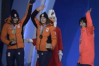 OLYMPIC GAMES: PYEONGCHANG: 13-02-2018, Medals Plaza, Victories Ceremony, Podium 1500m Ladies Long Track Speed Skating, Miho Takagi (JPN), Ireen Wüst (NED), Marrit Leenstra (NED), ©photo Martin de Jong
