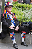 London, UK. 10 May 2014. Pictured: Morris Men from Moulton performing in Leicester Square. Morris Dance groups from all over England gathered in London and performed for the public during the Westminster Morris Men Day of Dance.