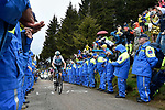Chris Froome (GBR) Team Sky climbs to victory near the finish of Stage 14 of the 2018 Giro d'Italia, running 186km from San Vito al Tagliamento to Monte Zoncolan features Europe's hardest climb, Italy. 19th May 2018.<br /> Picture: LaPresse/Fabio Ferrari | Cyclefile<br /> <br /> <br /> All photos usage must carry mandatory copyright credit (&copy; Cyclefile | LaPresse/Fabio Ferrari)