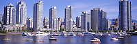 "City of Vancouver Skyline and Downtown at Yaletown and ""False Creek"", BC, British Columbia, Canada, in Spring - Panoramic View"
