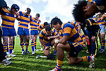 Siosuia Pole & Jason Roache lead the Patumahoe team in a prayer at the conclusion of the Counties Manukau Premier Club Rugby final between Patumahoe & Waiuku played at Bayers Growers Stadium Pukekohe on Saturday August 8th 2009. Patumahoe won 11 - 9 after leading 11 - 6 at halftime.