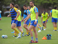 Jeremy Thrush and Blade Thomson in action during the Hurricanes Super 15 rugby training at Hutt Recreation Ground, Lower Hutt, Wellington, New Zealand on Thursday, 24 January 2013. Photo: Dave Lintott / lintottphoto.co.nz