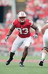 Wisconsin Badgers defensive lineman Louis Nzegwu (93) plays defense during an NCAA college football game against the San Jose State Spartans on September 11, 2010 at Camp Randall Stadium in Madison, Wisconsin. The Badgers beat San Jose State 27-14. (Photo by David Stluka)