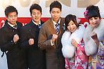 (L-R) Akihiro Yamaguchi, Daiya Seto, Kosuke Hagino, Akiho Sato, Miho Fuji, JANUARY 12, 2015 : <br /> The Tokyo Organising Committee of the Olympic and Paralympic Games (TOCOG) countdown event &quot;Everyone's Start! 2020 days to Tokyo 2020&quot; at Tokyo Metropolitan Government, Tokyo, Japan. (Photo by AFLO SPORT)