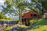 The old gristmill and waterfall in Weston, Vermont, USA