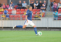 Lea Declercq of France takes a penalty, which is missed,  during the UEFA Womens U19 Championships at Stebonheath Park, Llanelli  Monday 19th August 2013. All images are the copyright of Jeff Thomas Photography-www.jaypics.photoshelter.com-07837 386244-Any use of images must be authorised by the copyright owner.