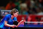 Minami Ando (JPN), <br /> AUGUST 27, 2018 - Table Tennis : <br /> Women's Team Quarter-final <br /> between Japan 0-3 China <br /> at JIExpo Kemayoran Hall B <br /> during the 2018 Jakarta Palembang Asian Games <br /> in Jakarta, Indonesia. <br /> (Photo by Naoki Morita/AFLO SPORT)