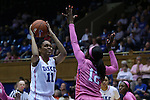 08 February 2015: Duke's Azura Stevens (11) shoots over Clemson's MaKayla Johnson (12). The Duke University Blue Devils hosted the Clemson University Tigers at Cameron Indoor Stadium in Durham, North Carolina in a 2014-15 NCAA Division I Women's Basketball game. Duke won the game 89-60.