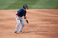 Potomac Nationals shortstop Carter Kieboom (5) leads off second base during the first game of a doubleheader against the Lynchburg Hillcats on June 9, 2018 at Calvin Falwell Field in Lynchburg, Virginia.  Lynchburg defeated Potomac 5-3.  (Mike Janes/Four Seam Images)