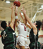 Michael Vaughan #2 of Glen Cove drives to the net during a non-league varsity boys basketball game against Harborfields at Glen Cove High School on Tuesday, Dec. 5, 2017. Harborfields won by a score of 65-57.