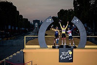 Tadej Pogačar (SVN/UAE-Emirates) wins the 2020 Tour de France + the polka dot jersey + the white jersey as best young rider... <br /> Primoz Roglic (SVN/Jumbo-Visma) finishes 2nd overall & Richie Porte (AUS/Trek-Segafredo) 3rd.<br /> <br /> Stage 21 from Mantes-la-Jolie to Paris (122km)<br /> <br /> 107th Tour de France 2020 (2.UWT)<br /> (the 'postponed edition' held in september)<br /> <br /> ©kramon