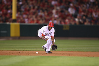 ANAHEIM - OCTOBER 8:  Chone Figgins of the Los Angeles Angels of Anaheim makes a play at third base against the Boston Red Sox during Game 1 of the American League Division Series at Angel Stadium on October 8, 2009 in Anaheim, California. Photo by Brad Mangin