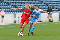 Bridgeview, IL - Saturday August 12, 2017: Lindsey Horan, Vanessa DiBernardo during a regular season National Women's Soccer League (NWSL) match between the Chicago Red Stars and the Portland Thorns FC at Toyota Park. Portland won 3-2.
