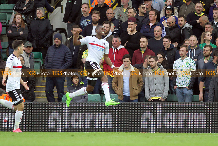 Floyd Ayite of Fulham celebrates getting the third goal for Fulham during Norwich City vs Fulham, Sky Bet EFL Championship Football at Carrow Road on 14th April 2017