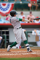 Daytona Tortugas shortstop Luis Gonzalez (7) follows through on a swing during a game against the Florida Fire Frogs on April 7, 2018 at Osceola County Stadium in Kissimmee, Florida.  Daytona defeated Florida 4-3 in a six inning rain shortened game.  (Mike Janes/Four Seam Images)