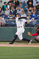 Logan Taylor (22) of the Everett Aquasox at bat during a game against the Vancouver Canadians at Everett Memorial Stadium in Everett, Washington on July 16, 2015.  Vancouver defeated Everett 5-4. (Ronnie Allen/Four Seam Images)