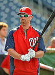 15 June 2012: Washington Nationals first baseman Adam LaRoche awaits his turn in the batting cage prior to a game against the New York Yankees at Nationals Park in Washington, DC. The Yankees defeated the Nationals 7-2 in the first game of their 3-game series. Mandatory Credit: Ed Wolfstein Photo