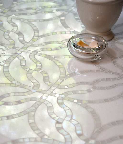 Claudette, a stone waterjet cut mosaic, shown in polished Afyon White and polished Thassos. Designed by Sara Baldwin Designs for New Ravenna.<br />