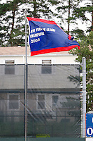 June 21, 2009:  The championship banner to award the 2008 NY-Penn League Champions waves during a game at Dwyer Stadium in Batavia, NY.  The Batavia Muckdogs are the NY-Penn League Short Season Class-A affiliate of the St. Louis Cardinals.  Photo by:  Mike Janes/Four Seam Images
