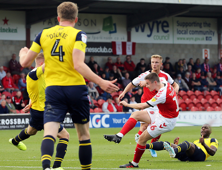 Fleetwood Town's Jordan Rossiter unleashes a strike from close range which leads to the opening goal being scored by Paddy Madden following the rebound<br /> <br /> Photographer Rich Linley/CameraSport<br /> <br /> The EFL Sky Bet League One - Fleetwood Town v Oxford United - Saturday 7th September 2019 - Highbury Stadium - Fleetwood<br /> <br /> World Copyright © 2019 CameraSport. All rights reserved. 43 Linden Ave. Countesthorpe. Leicester. England. LE8 5PG - Tel: +44 (0) 116 277 4147 - admin@camerasport.com - www.camerasport.com