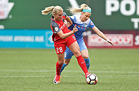 Portland, OR - Saturday April 29, 2017: Amandine Henry, Julie Johnston Ertz during a regular season National Women's Soccer League (NWSL) match between the Portland Thorns FC and the Chicago Red Stars at Providence Park.